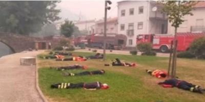 Απίστευτες φωτογραφίες: Οι ήρωες πυροσβέστες της Πορτογαλίας σε μια ανάπαυλα από τη «μάχη»